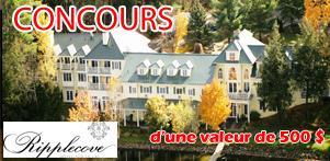 Concours du Québec en Printemps en collaboration avec Le Ripplecove, hôtel sur le lac, dans la région des Cantons-de-l'Est et Global Réservation