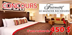 """Concours """"Faites J'AIME"""" sur la page Facebook de Global Réservation et celle du Fairmont Le Manoir Richelieu dans la région de Charlevoix"""