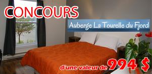 Concours du Québec en Automne 2014 en collaboration avec l'Auberge La Tourelle du Fjord dans la région du Saguenay-Lac-Saint-Jean et Global Réservation